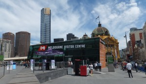 Federation Square Visitor Centre and station (behind) - Melbourne
